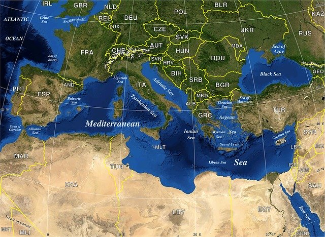 Map of Mediterranean Countries