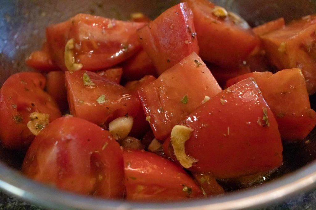 italian tomato salad in bowl